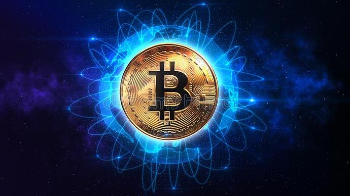 bitcoin-connected-over-world-blockchain-technology-d-rendering-146157136