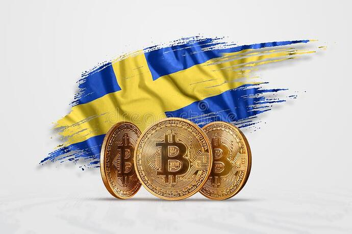 crypto-currency-gold-coin-bitcoin-btc-against-background-flag-sweden-concept-new-blockchain-technology-token-146942977